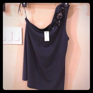 NWT- dark gray beaded one shoulder top